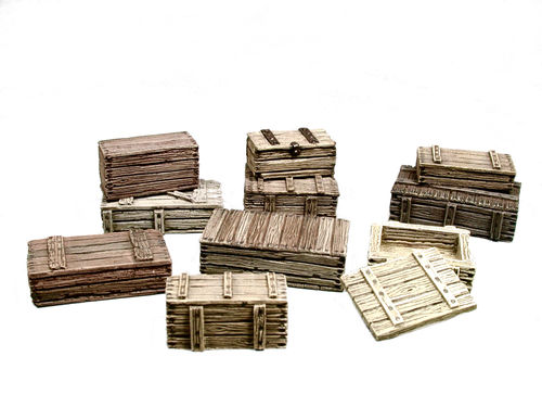 Set of wooden crates