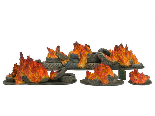 Set of burning tires